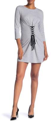 1 STATE 1.State Long Sleeve Lace-Up Corset Knit Dress