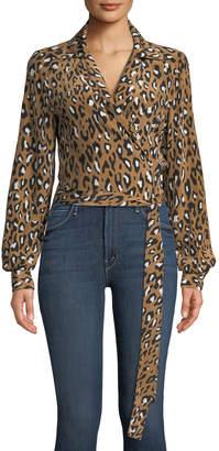 Diane von Furstenberg V-Neck Animal Wrap Silk Blouse