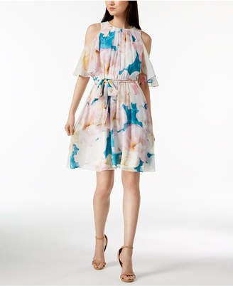 Calvin Klein Printed Cold-Shoulder Dress, Regular & Petite Sizes