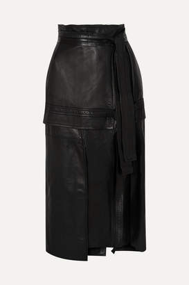 3.1 Phillip Lim Belted Leather Midi Skirt - Black