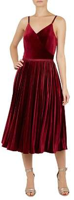 Ted Baker Khim Pleated Velvet Dress
