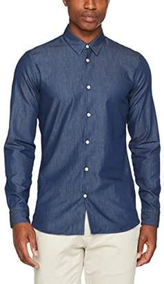 J. Lindeberg Men's Daniel Cl Refined DNM Denim Shirt, (Mid Blue), (Size: Large)