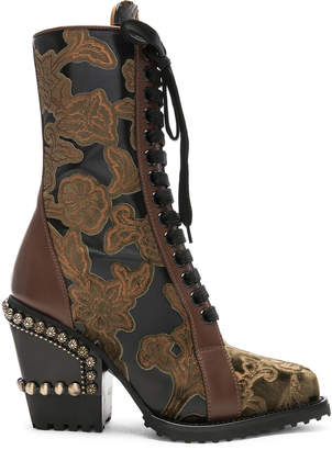 Chloé Rylee Baroque Velvet Lace Up Boots