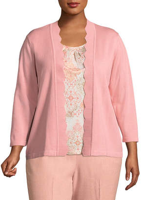 Alfred Dunner La Dolce Vita Medallion Layered Sweater- Plus