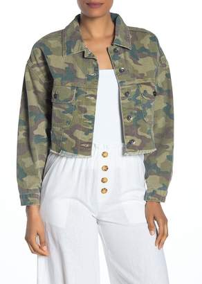 Cotton On Camouflage Batwing Cropped Denim Jacket