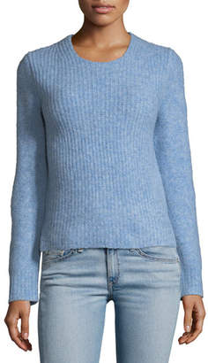 Rag & Bone Francie Crewneck Wool-Blend Sweater with Suede Elbow Patches