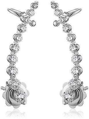 14k Gold Shared 2- Prong Attachable Diamond Loop Earrings (1cttw
