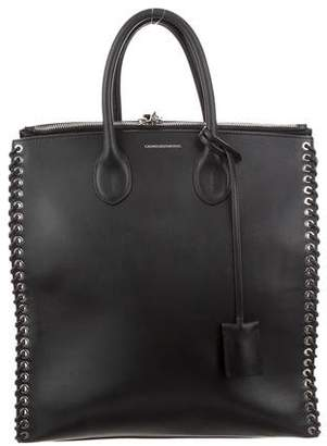 Calvin Klein Leather Whipstitch-Trimmed Tote