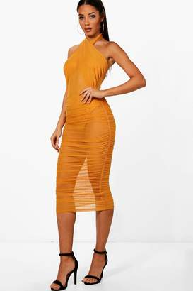 boohoo Cross Neck Mesh Ruched Midi Dress