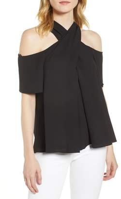1 STATE 1.STATE Cross Neck Cold Shoulder Top