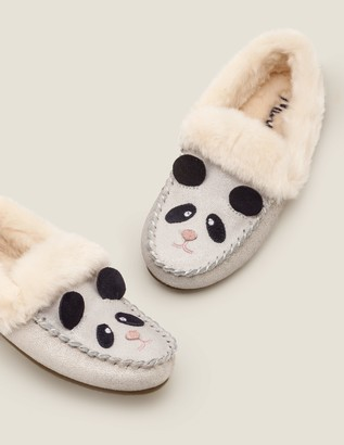 Boden Suede Panda Slippers