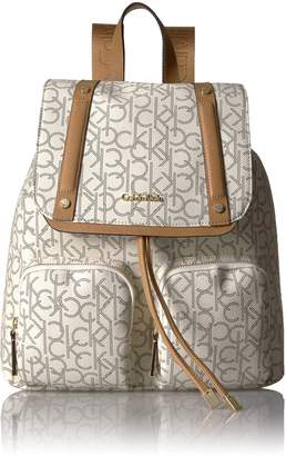 Calvin Klein Teodora Monogram Flap Backpack Shoulder Bag