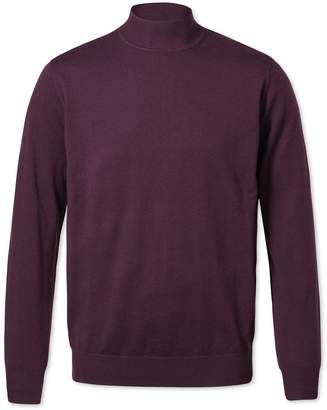 Charles Tyrwhitt Wine Mock Turtleneck Merino Wool Sweater Size Large