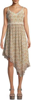Paige Aubrey Botanical Floral-Print Georgette Midi Dress w/ Lace