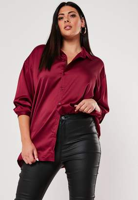 Missguided Plus Size Red Oversized Satin Shirt