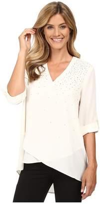 Karen Kane Embellished Asymmetrical Hem Top Women's Clothing