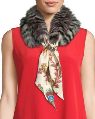 Etro Paisley Silk Scarf w/ Lemur-Print Fur Trim