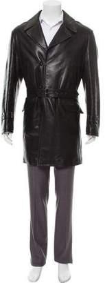 Armani Collezioni Leather Knee-Length Coat