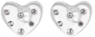 Ettika Crystal Embellished Clear Heart Stud Earrings