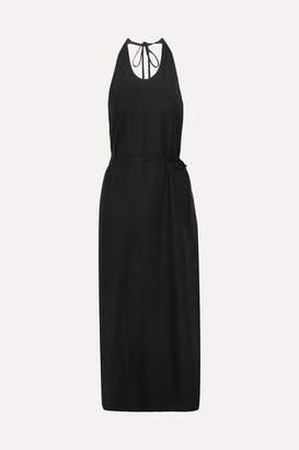 Base Range Baserange - Apron Open-back Silk Halterneck Dress - Black