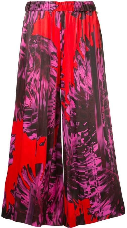 Ingie Paris abstract print cropped trousers