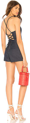 by the way. Arian Lace Up Back Denim Romper.