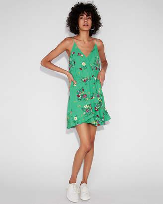 Express Floral Surplice Ruffle Wrap Cami Dress