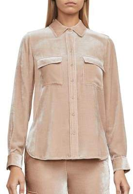 BCBGMAXAZRIA Anderson Woven Velvet Shirt