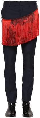 Calvin Klein Poly & Viscose Twill Pants W/ Fringe