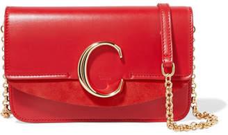 dd733786ca Chloé C Mini Suede-trimmed Leather Shoulder Bag - Red