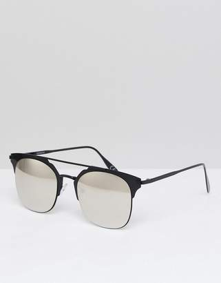 Asos Retro Sunglasses In Black Metal With Silver Mirrored Lens