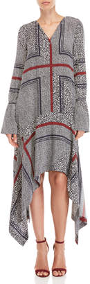 Derek Lam 10 Crosby Printed Bell Sleeve V-Neck Dress