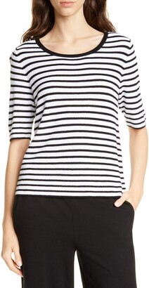 Eileen Fisher Stripe Elbow Sleeve Sweater