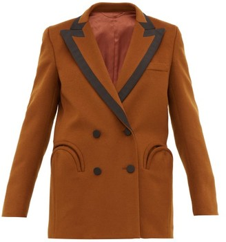 BLAZÉ MILANO Chinook Double Breasted Wool Blend Blazer - Womens - Brown