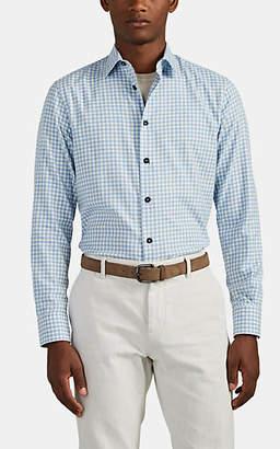 Brioni Men's Gingham Cotton Flannel Shirt - Lt. Blue