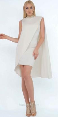 Mac Duggal Beaded High Neck Asymmetrical Cape Dress $338 thestylecure.com
