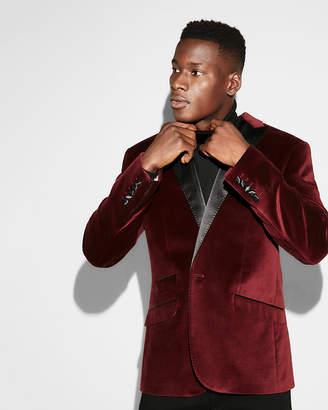 Express Slim Burgundy Velvet Cotton Tuxedo Jacket