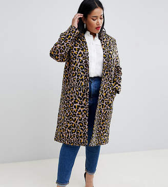 Asos DESIGN Curve coat in leopard