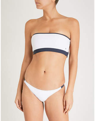Heidi Klein Ladies White and Navy Modern Bb Reversible Bandeau Bikini Top