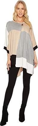 Calvin Klein Women's Colorblock Poncho Sweater