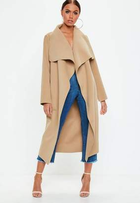 Missguided Camel Oversized Waterfall Duster Coat
