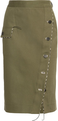 Curry Cotton-blend Twill Skirt - Army green