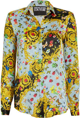 Versace Butterfly Crepe Button Down Blouse