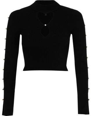 River Island Black faux pearl cut out long sleeve knit top