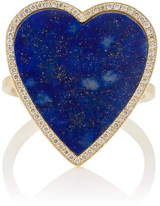 Jennifer Meyer Women's Lapis-Lazuli-Inlay & Diamond Heart Ring