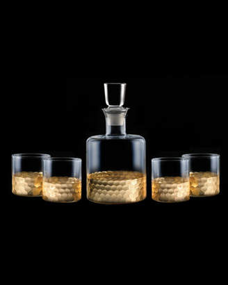 Jay Import Co Daphne 5-Piece Square Whiskey Decanter Set, Gold