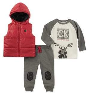 Calvin Klein Baby Boy's Three-Piece Tee, Vest Jogger Pants Set