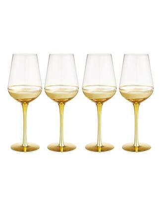 Fashion World Gold Double Band Wine Glasses Set of 4