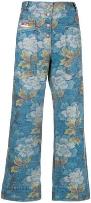 Kenzo wide leg Indonesian Flower jeans
