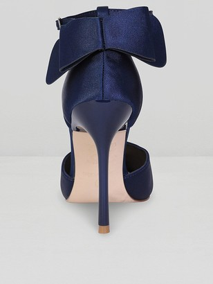 9f56efd49bf4 Chi Chi London Jenna Bow Back Ankle Strap Court Shoes - Navy